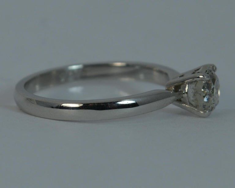 1.06 Carat Old Cut Diamond 18 Carat White Gold Solitaire Engagement Ring For Sale 5