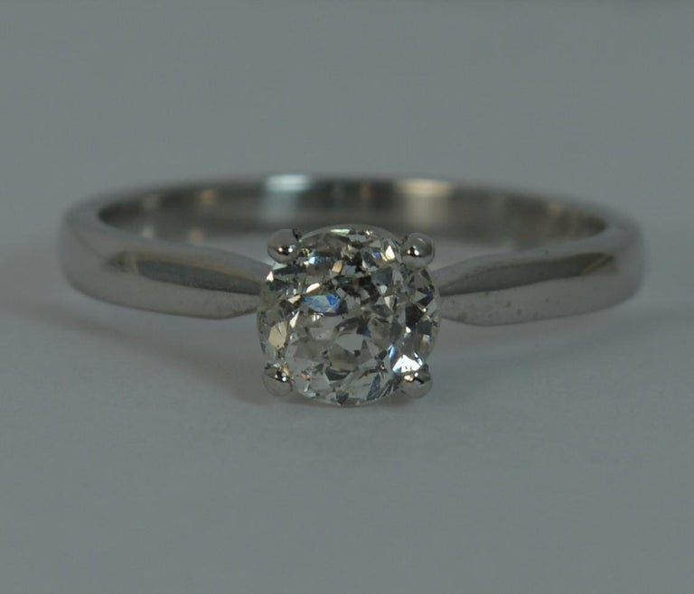 1.06 Carat Old Cut Diamond 18 Carat White Gold Solitaire Engagement Ring For Sale 6