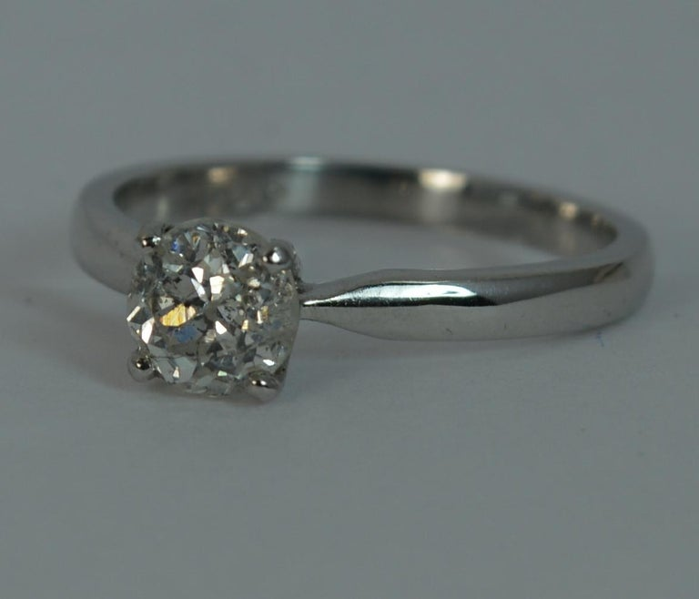 1.06 Carat Old Cut Diamond 18 Carat White Gold Solitaire Engagement Ring For Sale 9