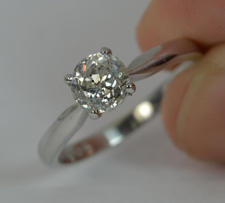 1.06 Carat Old Cut Diamond 18 Carat White Gold Solitaire Engagement Ring For Sale 10