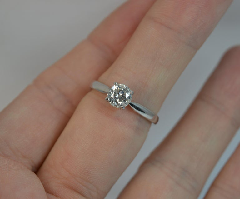 Old European Cut 1.06 Carat Old Cut Diamond 18 Carat White Gold Solitaire Engagement Ring For Sale