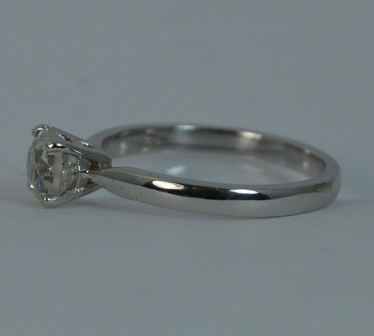 1.06 Carat Old Cut Diamond 18 Carat White Gold Solitaire Engagement Ring For Sale 3