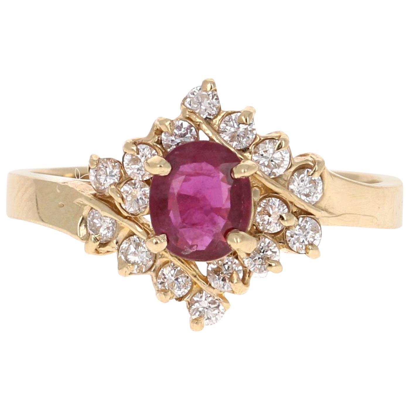 1.06 Carat Oval Cut Burmese Ruby Diamond 14 Karat Yellow Gold Ring