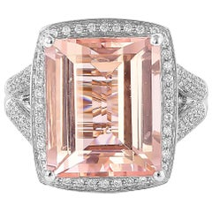 10.6 Carat Pink Morganite and Diamond Ring in 18 Karat White Gold