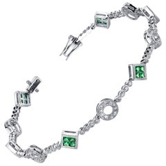 Princess Cut Tsavorite Garnet and Diamond, White Gold Filigree Link Bracelet