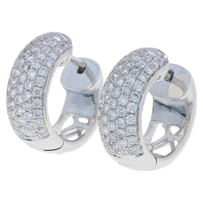 1.06 Carat Round Brilliant Diamond Earrings 18 Karat Gold Pierced Huggie Hoops