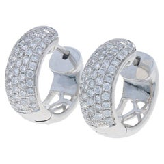 1.06 Carat Round Brilliant Diamond Earrings 18 Karat Gold Pierced Huggie Hoops