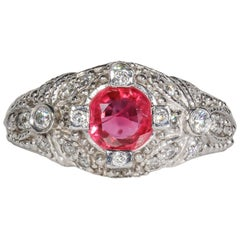 1.06 Carat Ruby and Diamond Cocktail Ring