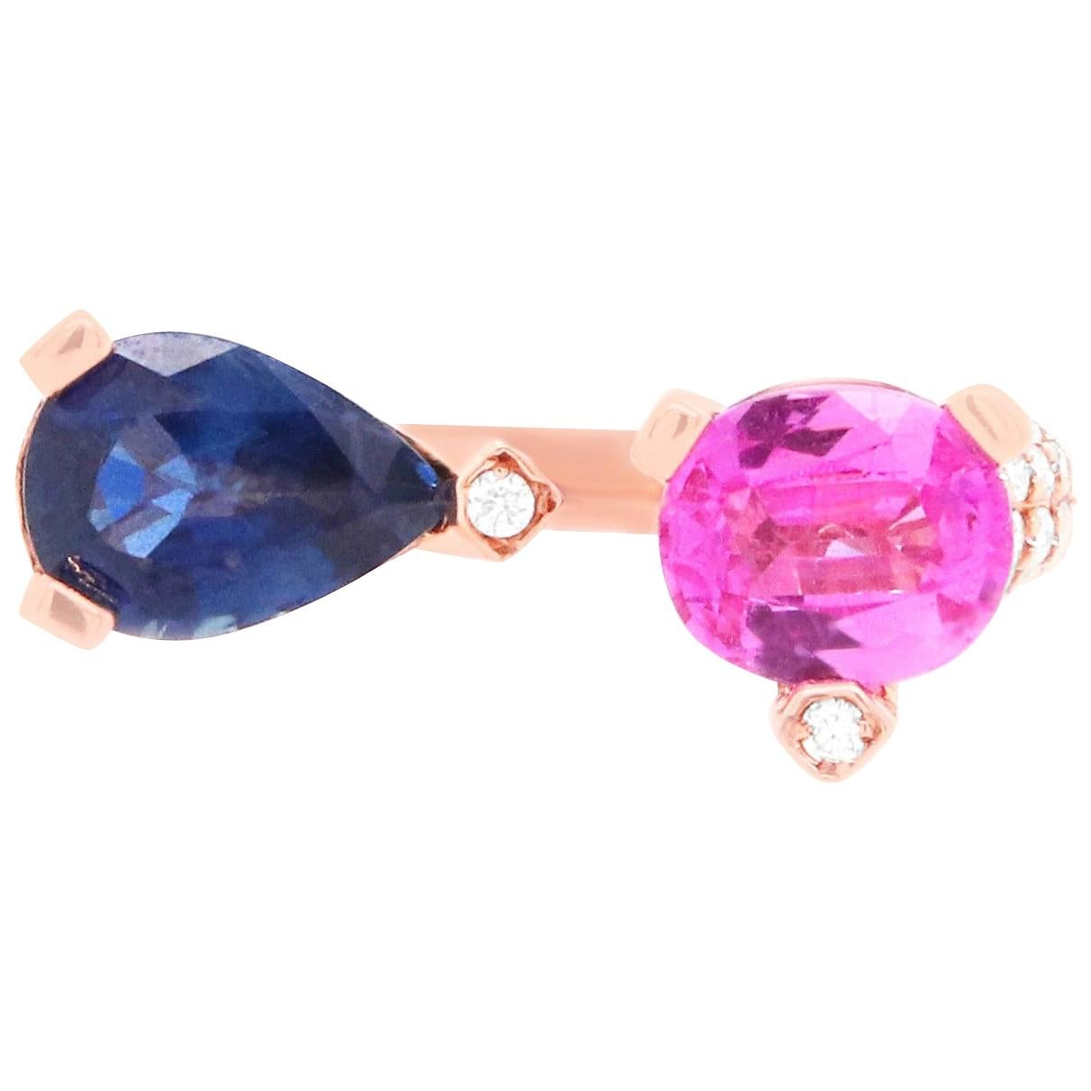 1.06 Carat Two-Stone Pink Sapphire, Blue Sapphire, and Diamond Ring