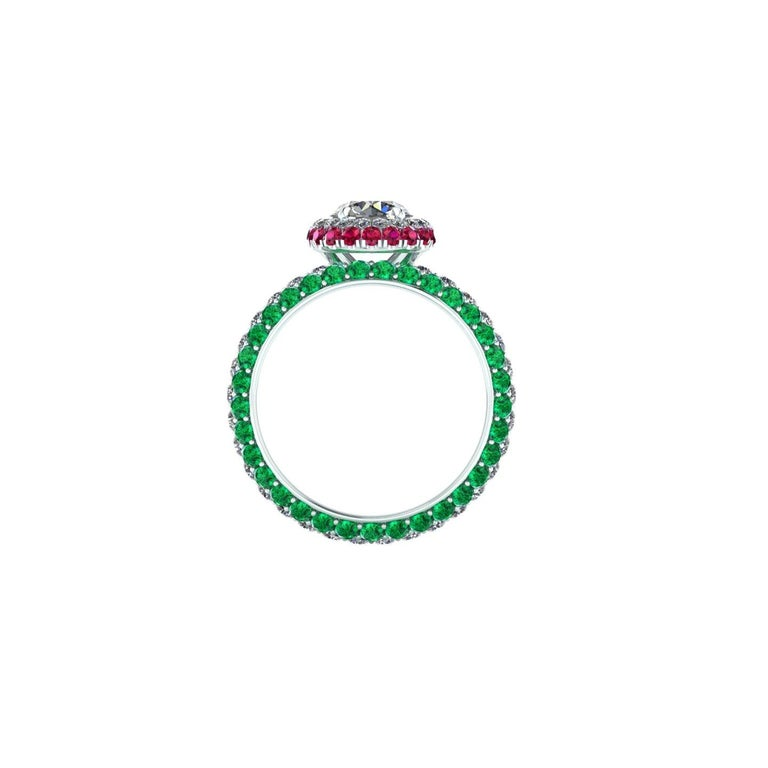 Italian Flag Lover  GIA Certified 1.06 Round diamond, G color, IF clarity, Internally Flawless with Triple Excellent Specs. a stunning classic, incredibly beautiful diamond set in a hand made Double Round Emeralds and Rubies Halo and a triple pave'