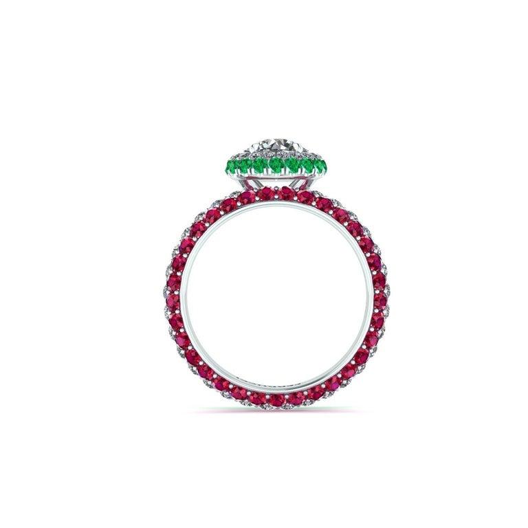 Art Nouveau 1.06 Ct GIA Round Diamond Round Emeralds Rubies Italian Flag Platinum Ring For Sale