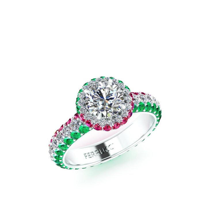 1.06 Ct GIA Round Diamond Round Emeralds Rubies Italian Flag Platinum Ring In New Condition For Sale In Lake Peekskill, NY