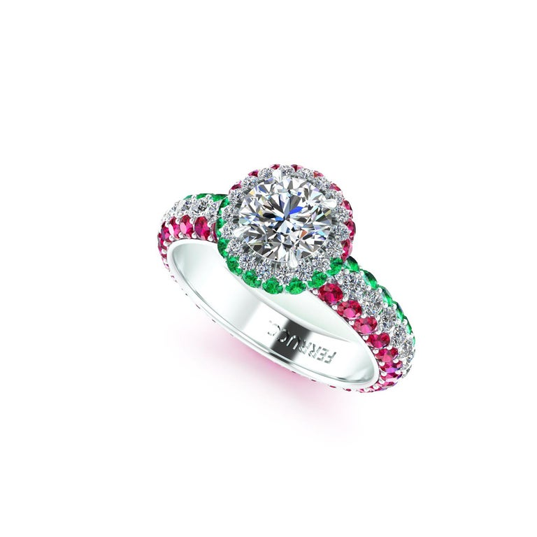 Women's 1.06 Ct GIA Round Diamond Round Emeralds Rubies Italian Flag Platinum Ring For Sale