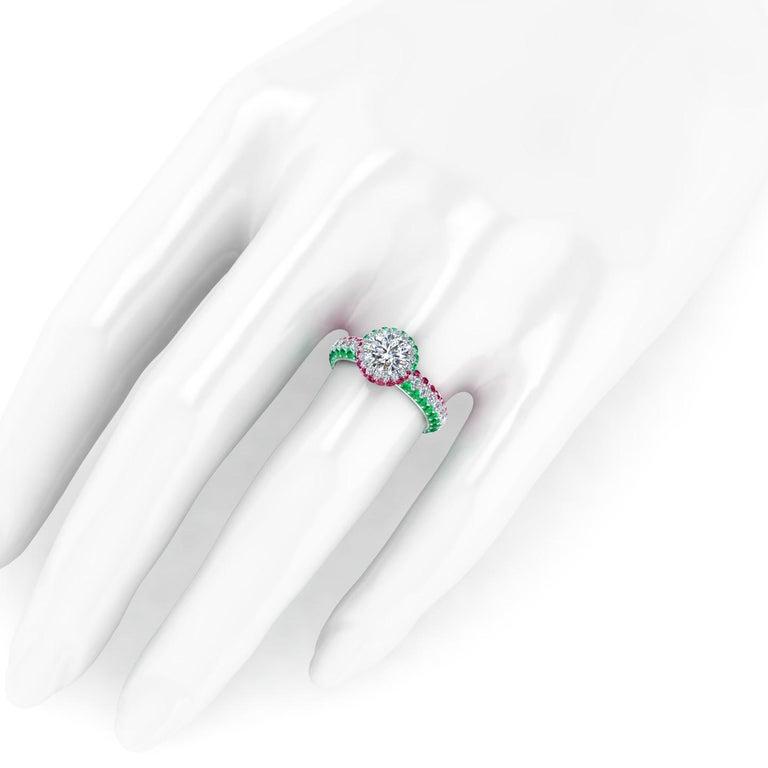 1.06 Ct GIA Round Diamond Round Emeralds Rubies Italian Flag Platinum Ring For Sale 1