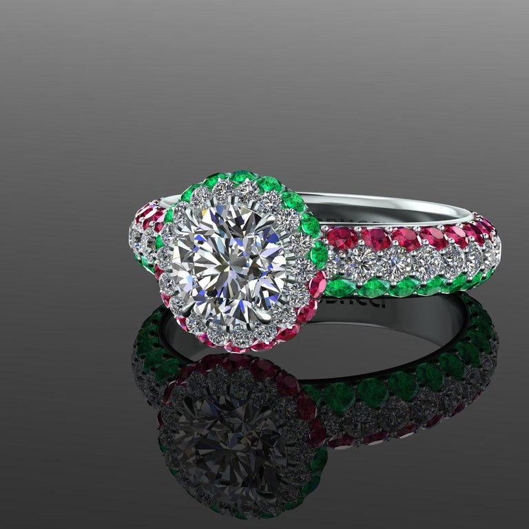 1.06 Ct GIA Round Diamond Round Emeralds Rubies Italian Flag Platinum Ring For Sale 2