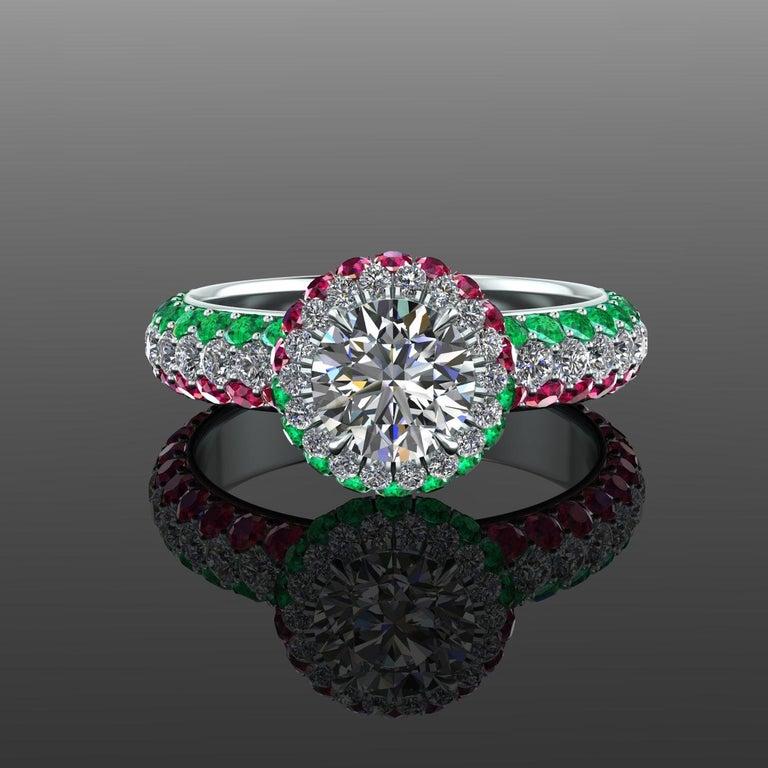 1.06 Ct GIA Round Diamond Round Emeralds Rubies Italian Flag Platinum Ring For Sale 3