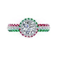 1.06 Ct GIA Round Diamond Round Emeralds Rubies Italian Flag Platinum Ring