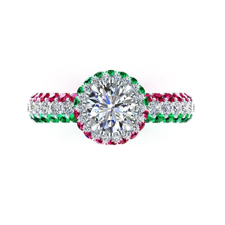1.06 Ct GIA Round Diamond Round Emeralds Rubies Italian Flag Platinum Ring For Sale