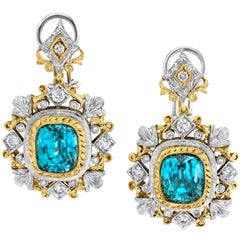 10.60 ct. t.w. Blue Zircon, Diamond, Handmade 18k French Clip Drop Earrings