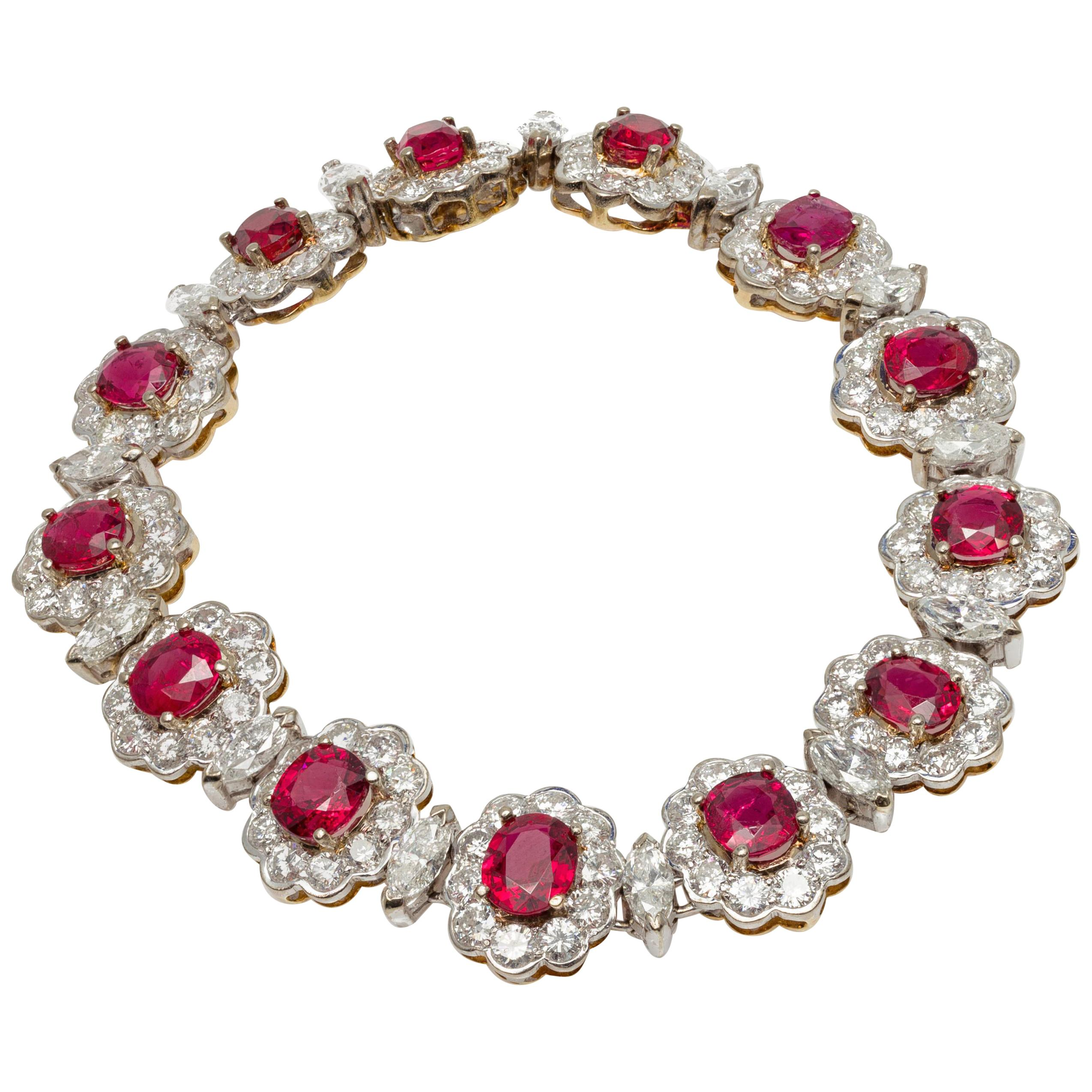 10.60 Carat Diamond and 10.25 Carat Spinel Bracelet in 18K Yellow and White Gold