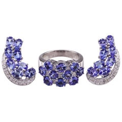 10.60 Carat Iolite and Diamond 14 Karat White Gold Earring and Ring Jewelry Set