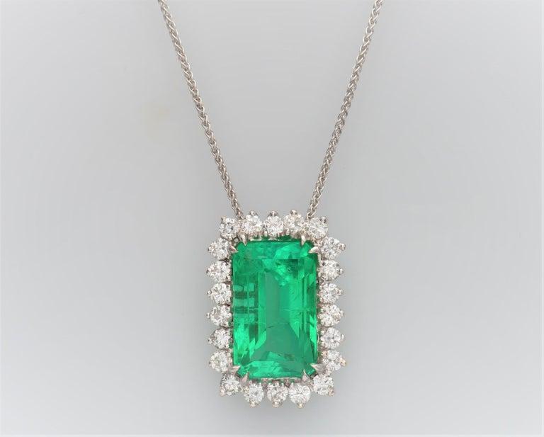 Women's or Men's 10.60 Carat Total Emerald Cut Colombian Emerald and 1.50 Carat Diamonds, Pendant For Sale