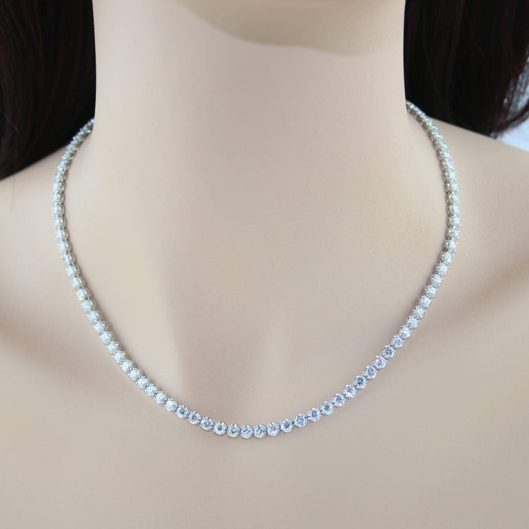 Contemporary 10.60 Carat Diamond Gold Tennis Necklace For Sale