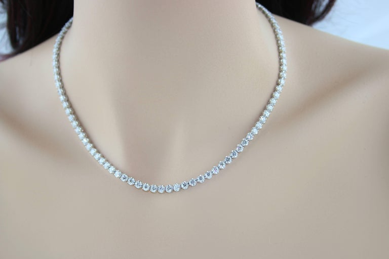 Round Cut 10.60 Carat Diamond Gold Tennis Necklace For Sale