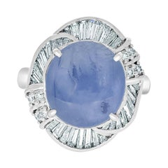 10.60ct Star Sapphire Ring with 0.95tct Diamonds Set in Platinum