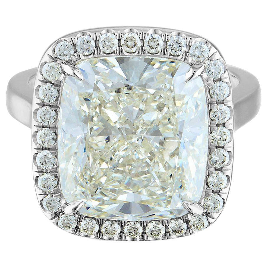 10.61 Carat Platinum Ring Center, Cushion Cut 10.11 K SI2, GIA Certified Diamond