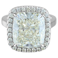 10.61 Carat Platinum Ring Center, Cushion Cut 10.11 K SI2, GIA Certified Diamond
