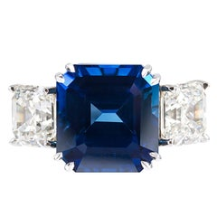 10.61 Carat Sapphire and 4.49 Carat Diamond Ring
