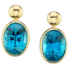 10.62 Carat Blue Zircon 18 Karat Yellow Gold Earrings