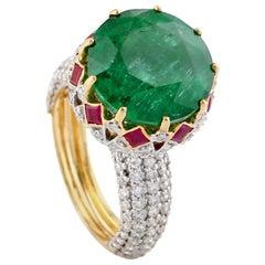 10.62 Carat Emerald Ruby Diamond 18 Karat Gold Ring