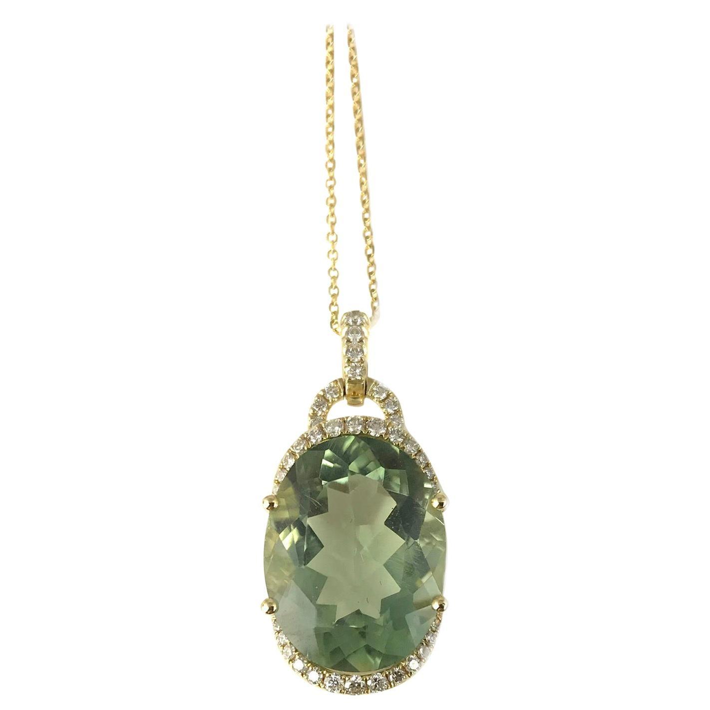 DiamondTown 10.63 Carat Oval Cut Exotic Green Amethyst and Diamond Pendant