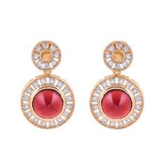 10.64 Carat Garnet Diamond 18 Karat Yellow Gold Earring