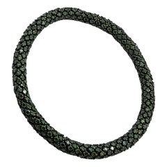 10.64 Carat Green Diamond White Gold Flexible Bracelet