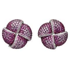 10.64 Carat Pavé White Diamond Pink Sapphire 18 Karat White Gold Stud Earrings