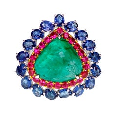 10.65 Carat Emerald Set with Ruby and Sapphire Antique Ring