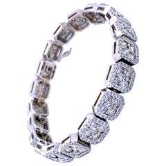 10.65 Carat Pave Set Diamond Tennis Bracelet with Cluster Centers