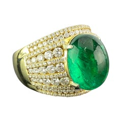10.66 Carat Emerald Cabochon and Diamond Dome, Cocktail Ring
