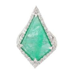 10.66 Carat Emerald Diamond 18 Karat Gold Ring