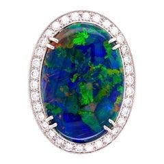 10.68 Carat Black Opal and Diamond Platinum Cocktail Ring Estate Fine Jewelry