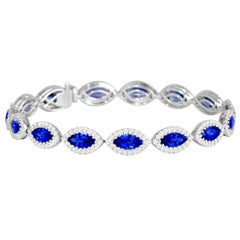 10.68 Carat Ceylon Sapphire and Diamond Tennis Bracelet in 18 Karat White Gold