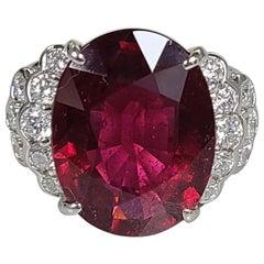 10.68 Carat Rubellite Ring Set in Platinum PT900 with Diamonds