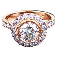 1.06 Karat GIA Certified White Diamond Halo Rose Gold Setting Engagement Ring