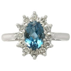 1.07 Carat Aquamarine and Diamond White Gold Ring