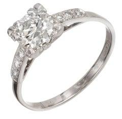 1.07 Carat Art Deco European Diamond Platinum Engagement Ring
