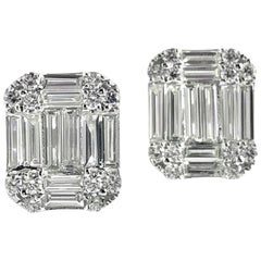 1.07 Carat Baguette and Round Diamond Stud Earrings in 18 Karat White Gold