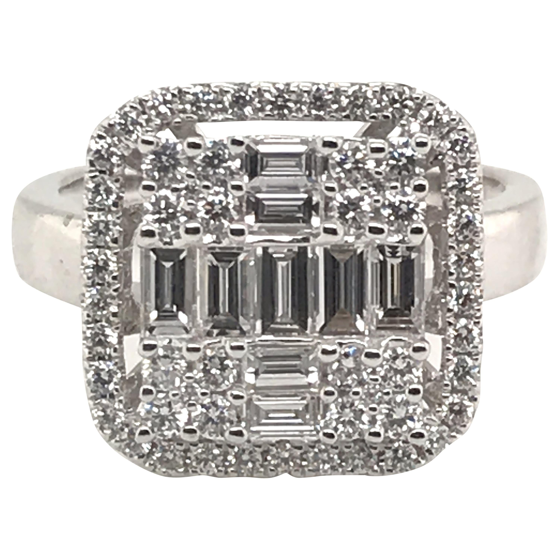 1.07 Carat Baguette Diamond Ring with Round Diamond Halo